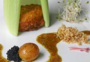 Receita de Pamonha Frita com Queijo de Cabra, Caviar e Ovinha de Galinha Caipira